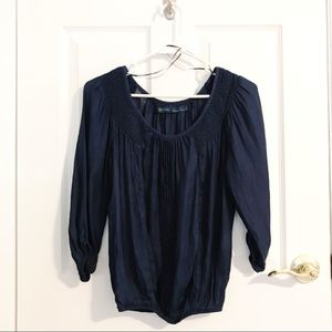 Zara Basic Navy Blue Boho Top